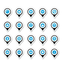 Map location markers pointers icons set vector image