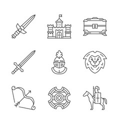 Medieval linear icons set vector