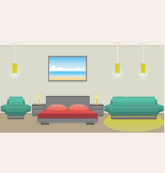 Modern bedroom interior including furniture vector