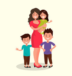 mother with daughter and sons vector image