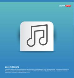 music symbol icon - blue sticker button vector image
