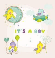 Newborn cute parrot set for baby shower cards vector