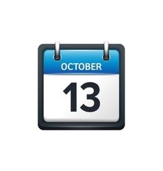 October 13 Calendar icon flat vector