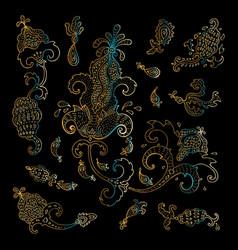 Paisley ethnic ornament vintage set vector