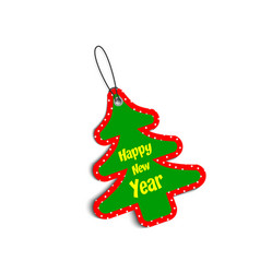 paper christmas tree green and red color with vector image