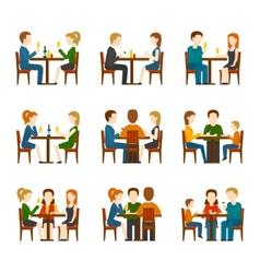 People In Restaurant Set vector