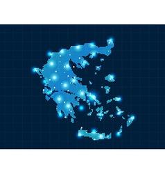 Pixel Greece map with spot lights vector