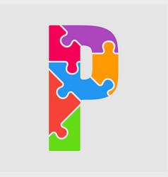 puzzle piece letter - p jigsaw font shape vector image