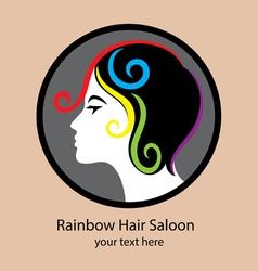 Rainbow Hair Saloon logo vector image
