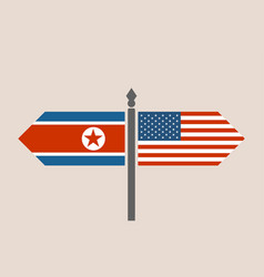 relationships between usa and north korea vector image
