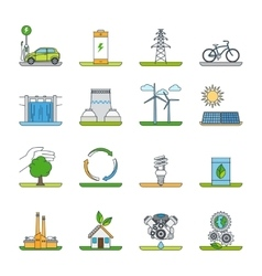 Renewable energy and green technology icons vector