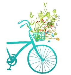 Retro Summer Bike with Bunch of Flowers Card vector
