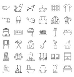 romance icons set outline style vector image