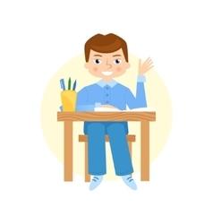 Schoolboy raising hand flat vector