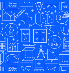 Seamless pattern with math symbols in line style vector