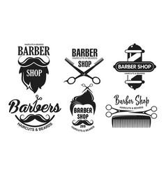 set barbershop logos vector image