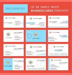 Set of 12 protected sheild creative busienss card vector