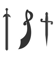 Set of historical swords saber silhouettes vector