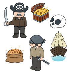 set of pirate vector image