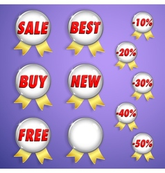 Set of red shiny badges with ribbons on sale vector image