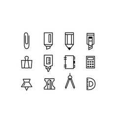 set stationery icons editable stroke line art vector image