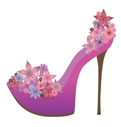 Shoes decorated with flowers vector