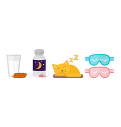 Sleep icon sleeping pills milk vector