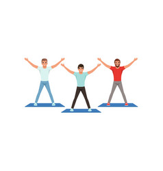 Smiling young guys workout in fitness center vector