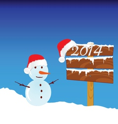 snowman winter with 2014 color vector image