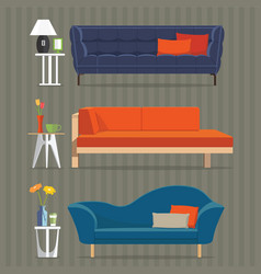 Sofa and side table vector
