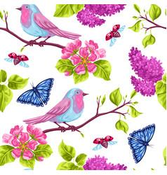spring garden seamless pattern natural vector image