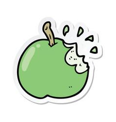 Sticker of a cartoon bitten apple vector