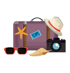 Suitcase travel with vacations accessories vector