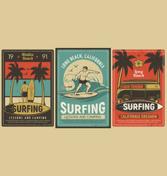 surfing camping and lessons retro poster vector image
