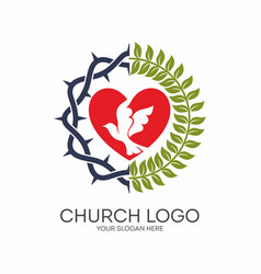 the heart the crown of thorns and the dove vector image