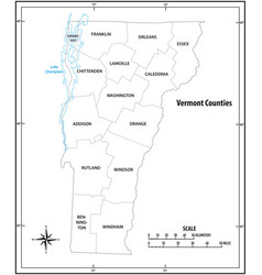 vermont state outline administrative map vector image