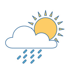 weather cloud rainy with sun vector image