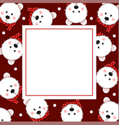 white bear with red scarf on red banner card vector image