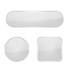 White glass buttons web 3d icons vector