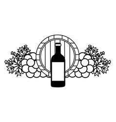 wine bottle wooden barrel grapes vector image