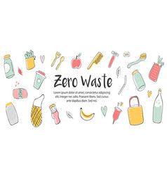 zero waste concept design with hand drawn elements vector image