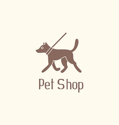 Cute pet shop logo with dog walking on leash vector image
