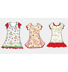 Dresses and t-shirt design for girl vector image vector image