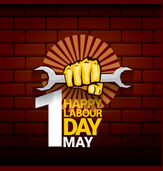 happy labour day label with strong orange vector image