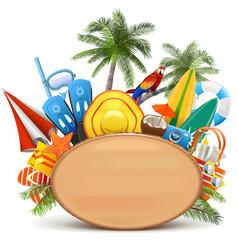 beach wooden board vector image