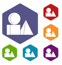 box of bricks icons set hexagon vector image