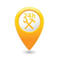 car service 24h icon on yellow pointer vector image vector image