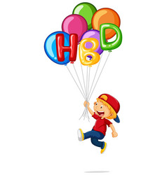 little boy and hbd on balloons vector image vector image