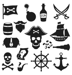 Set of objects and elements on pirate theme vector image