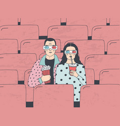 trendy young couple in cinema fashionable guy and vector image